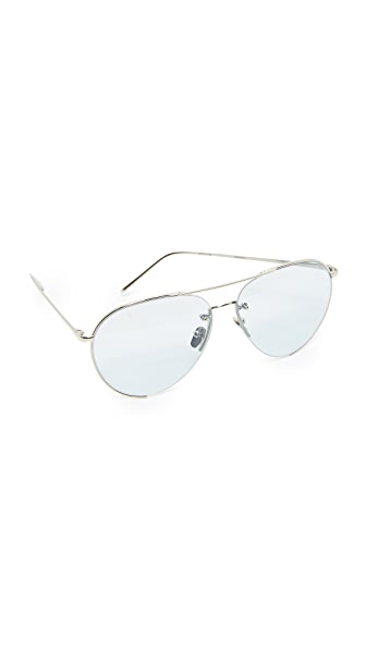 Linda Farrow Luxe 18k White Gold Plate Aviator Sunglasses In White Gold/Sky Blue