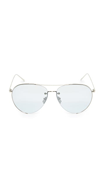 Linda Farrow Luxe 18k White Gold Plate Aviator Sunglasses