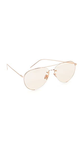 LINDA FARROW LUXE 18K Rose Gold Plate Aviator Sunglasses in Rose Gold/Light Peach