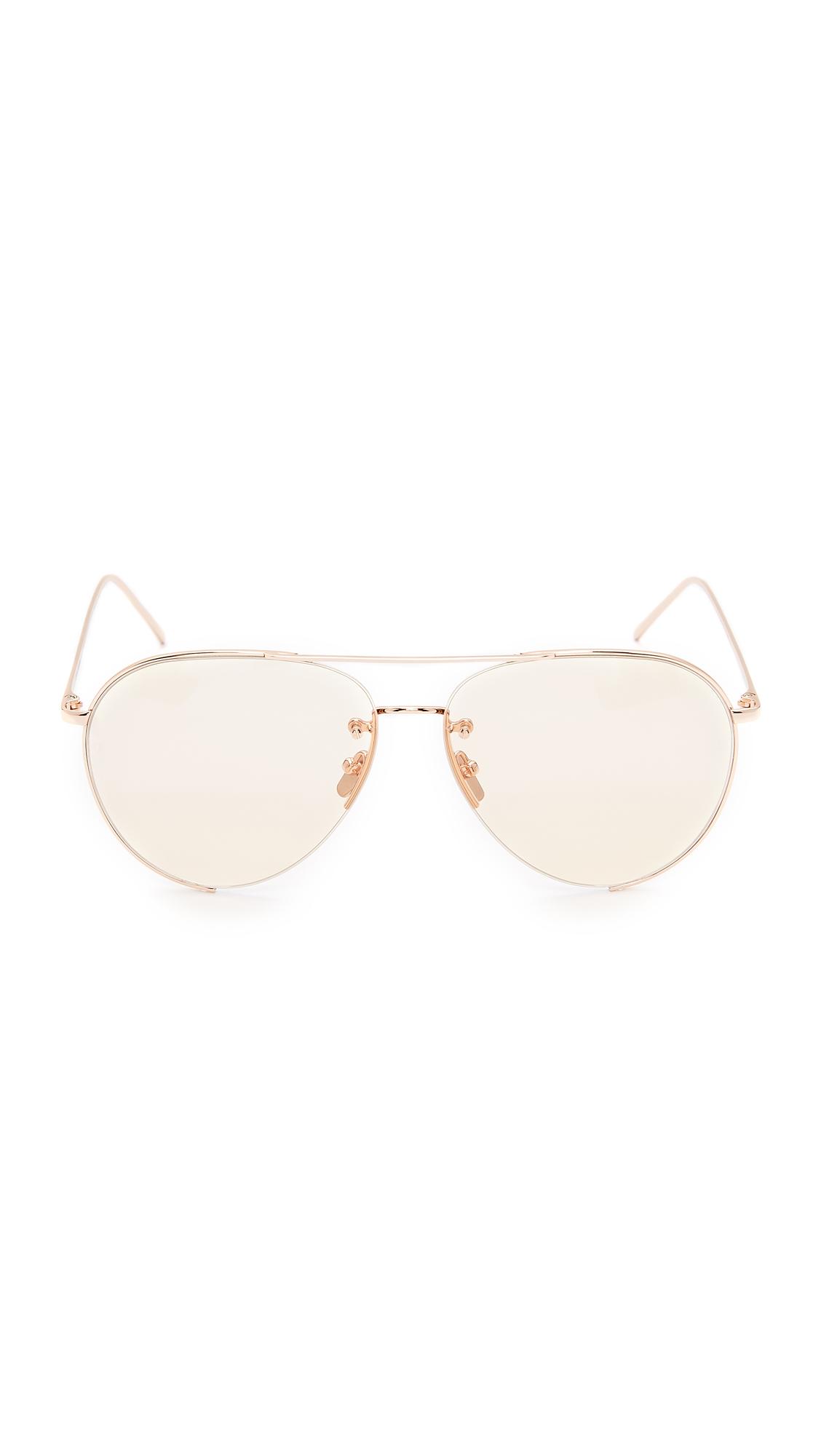 8d22c8f2e01 Linda Farrow Luxe 18k Rose Gold Plate Aviator Sunglasses