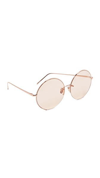 Linda Farrow Luxe 18k Rose Gold Plate Round Oversized Sunglasses - Rose Gold/Light Peach