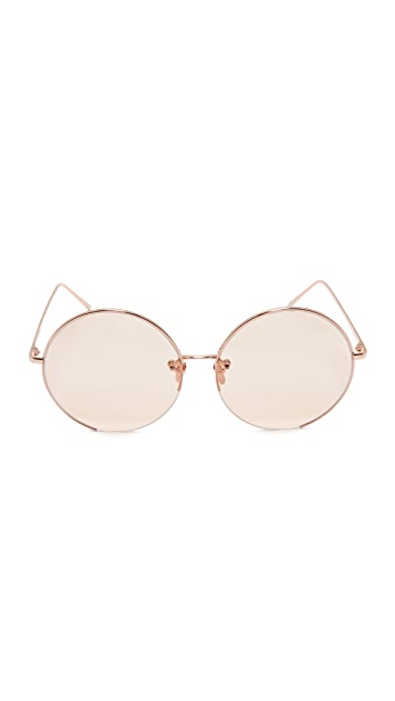 Linda Farrow Luxe 18k Rose Gold Plate Round Oversized Sunglasses
