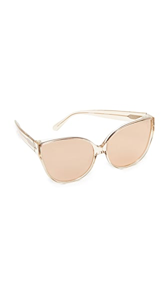 Linda Farrow Luxe Oversized Cat Eye Sunglasses - Ash/Rose Gold