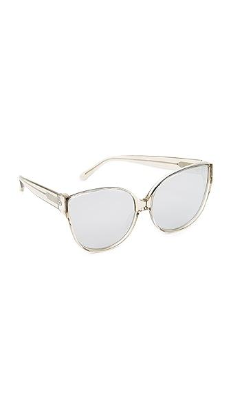Linda Farrow Luxe Oversized Cat Eye Sunglasses - Truffle/Platinum