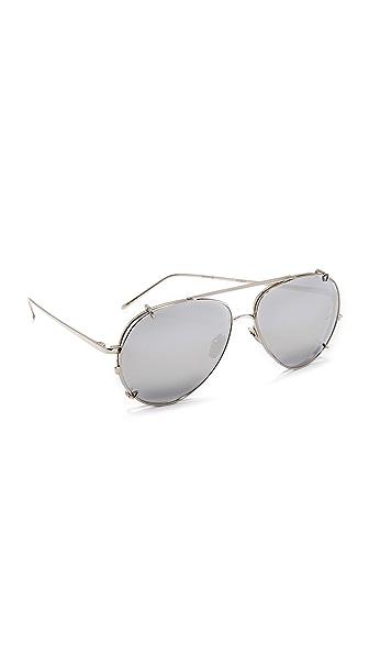 Linda Farrow Luxe 18k White Gold Plate Aviator Clip On Sunglasses