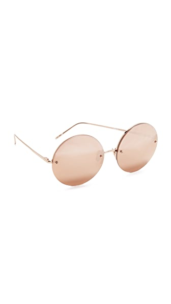 Linda Farrow Luxe Round Rose Gold Plated Sunglasses - Rose Gold