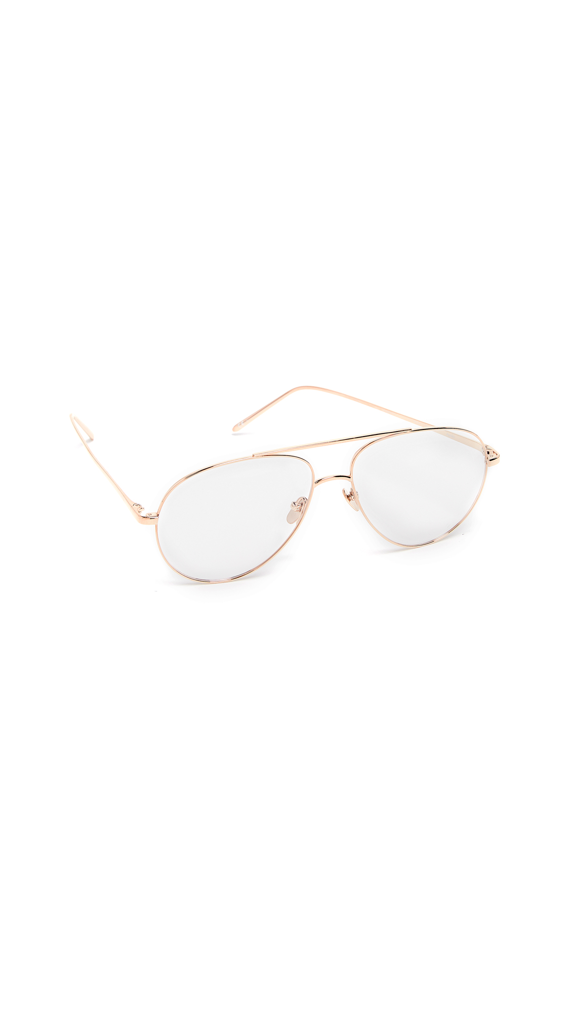 LINDA FARROW LUXE Aviator Glasses in Rose Gold/Clear