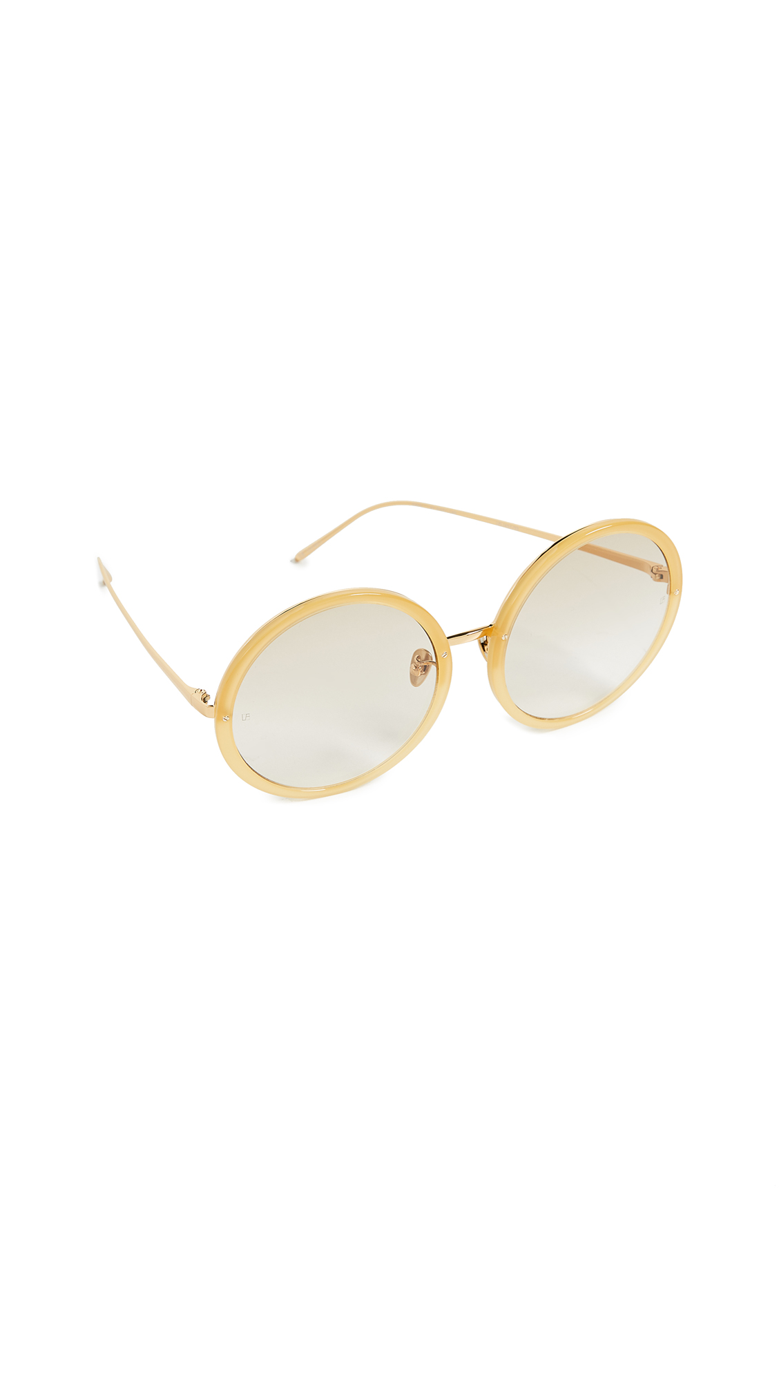 LINDA FARROW LUXE Oversized Round Sunglasses in Yellow Gold/Taupe