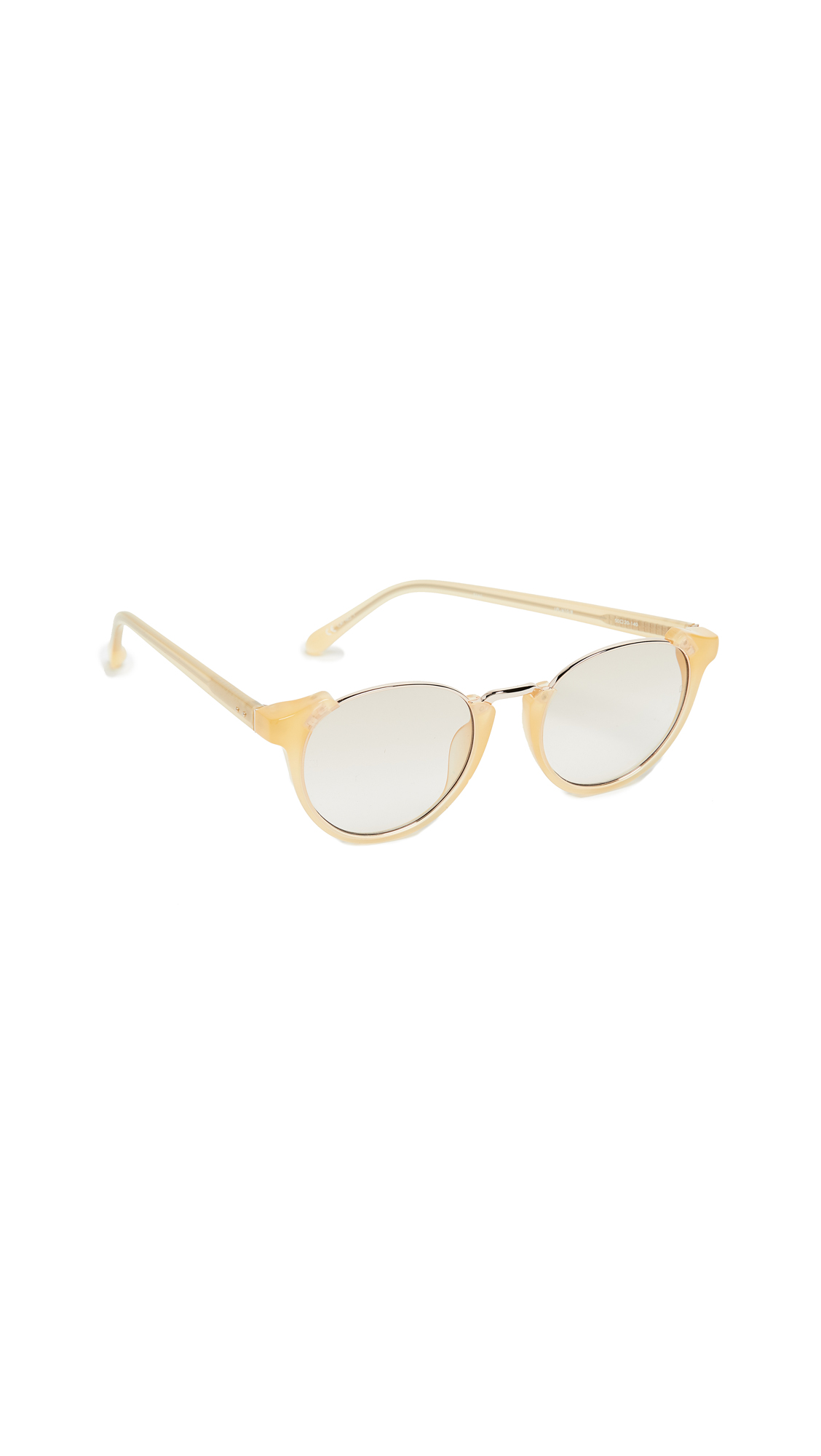 Linda Farrow Luxe Round Combo Sunglasses In Yellow/Taupe