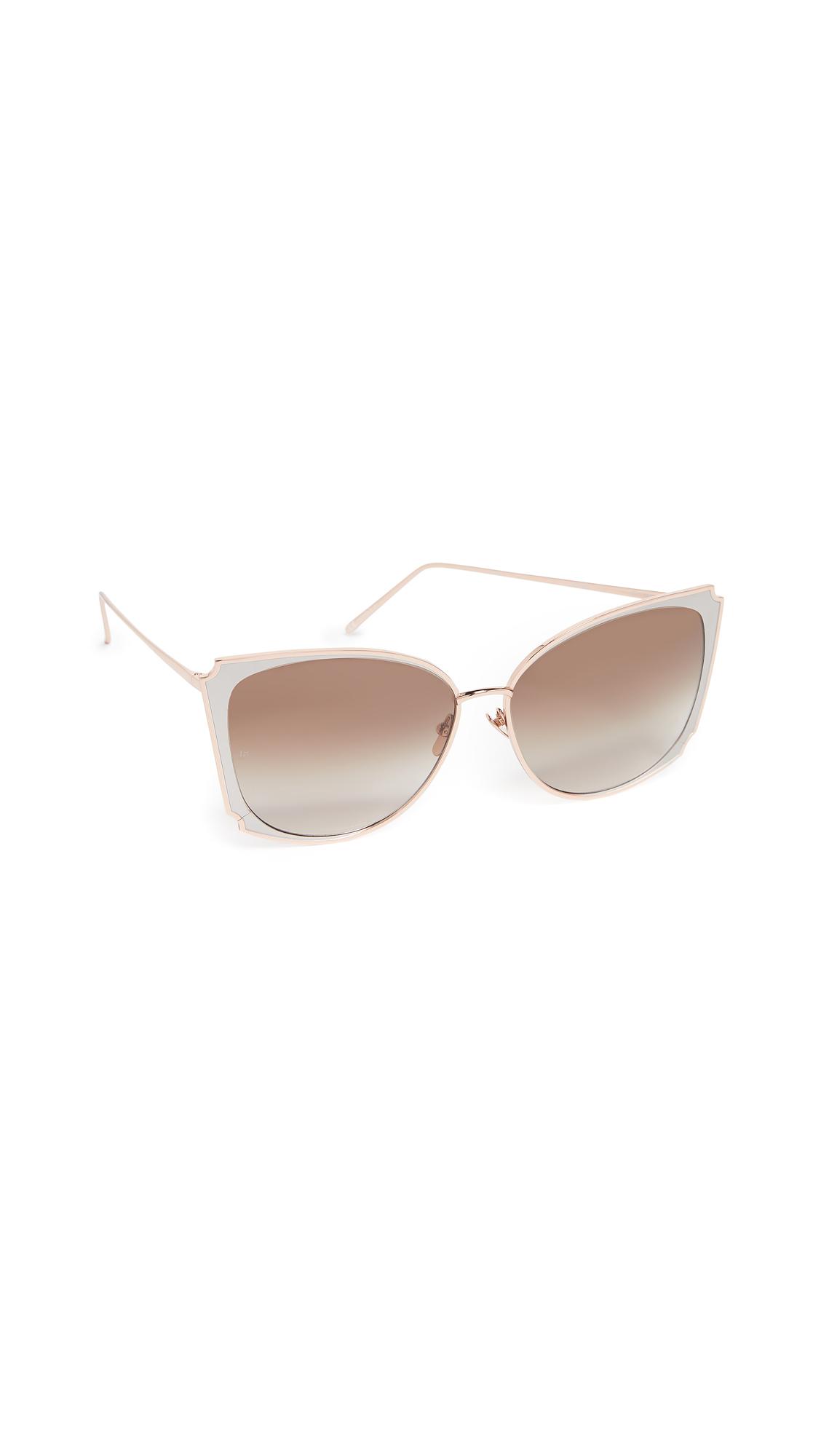 LINDA FARROW LUXE Butterfly Sunglasses in Rose Gold White/Mocha