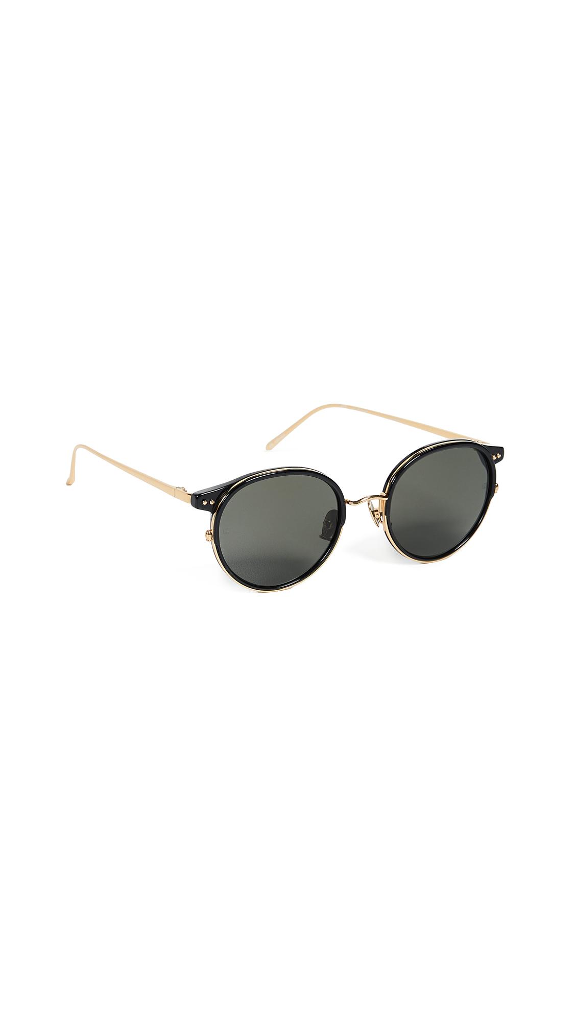 LINDA FARROW LUXE Round Sunglasses in Black Yellow Gold/Grey