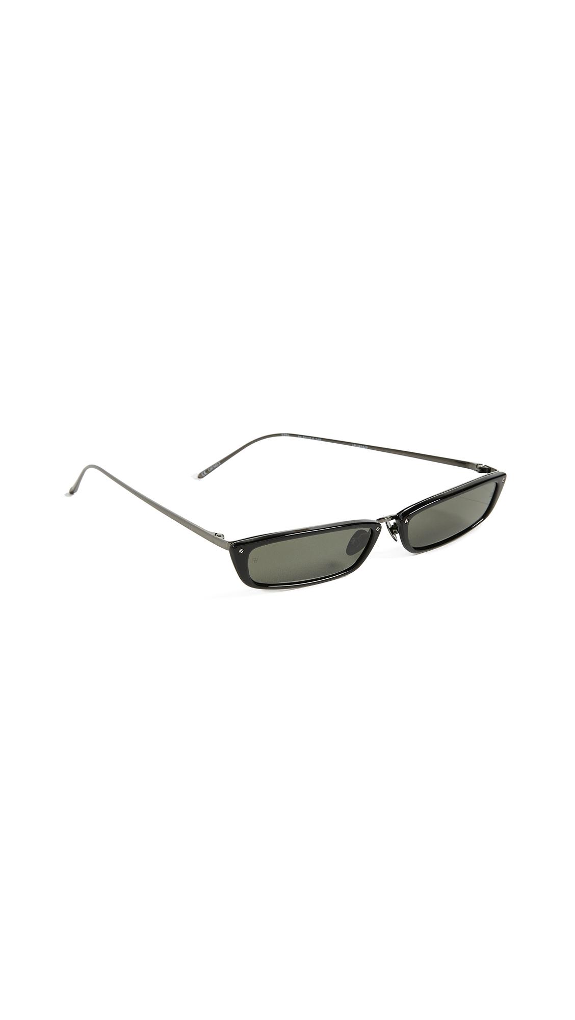 LINDA FARROW LUXE Narrow Rectangular Sunglasses in Black/Grey