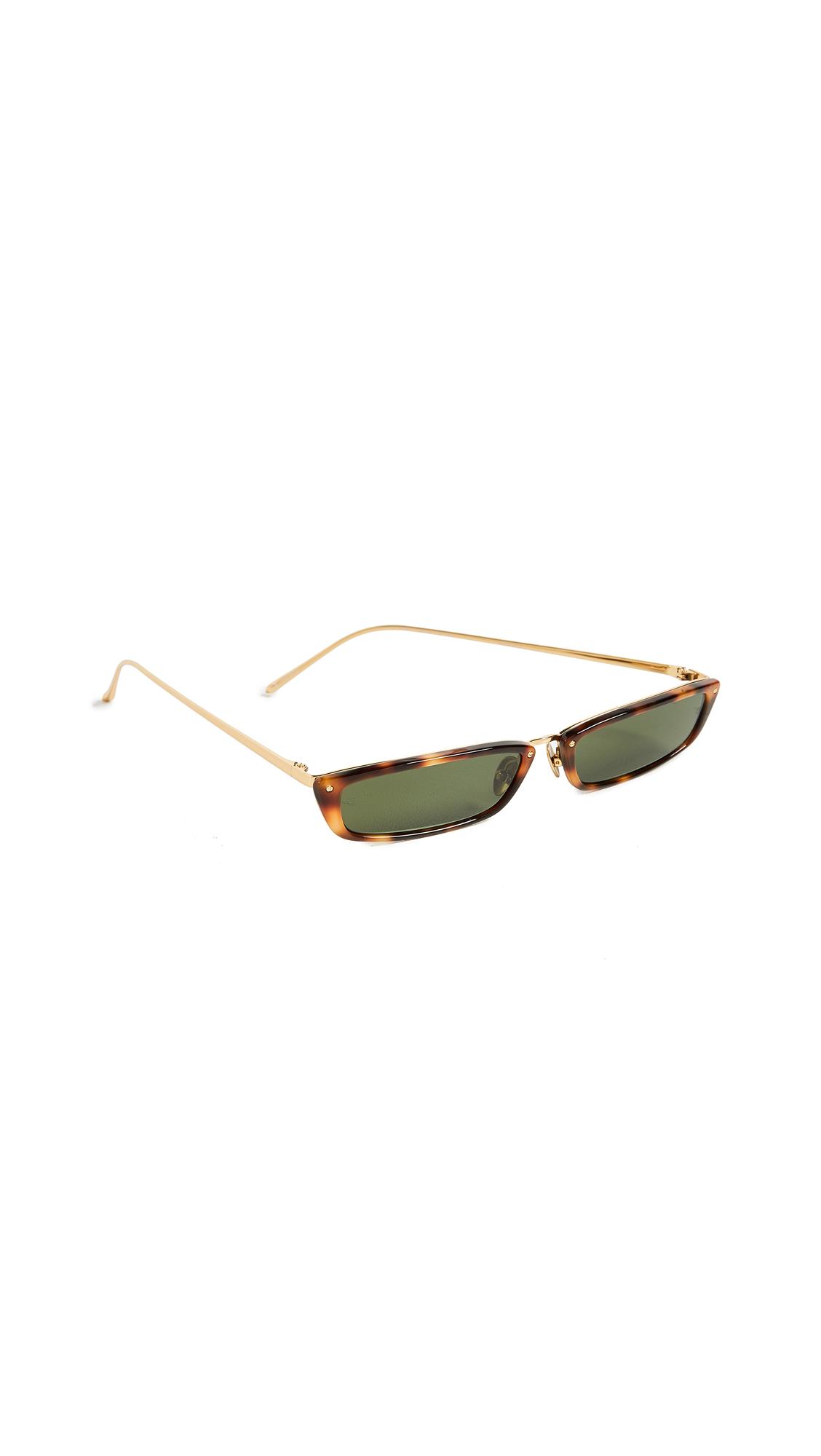 LINDA FARROW LUXE Narrow Rectangular Sunglasses in Brown/Green