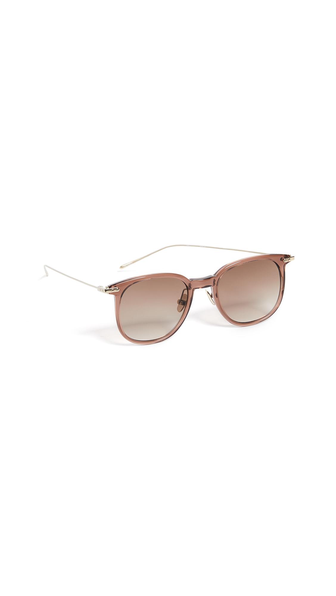 LINDA FARROW LUXE Linear Oversized Wayfarer Sunglasses in Shell/Luna Gold/Solid Brown