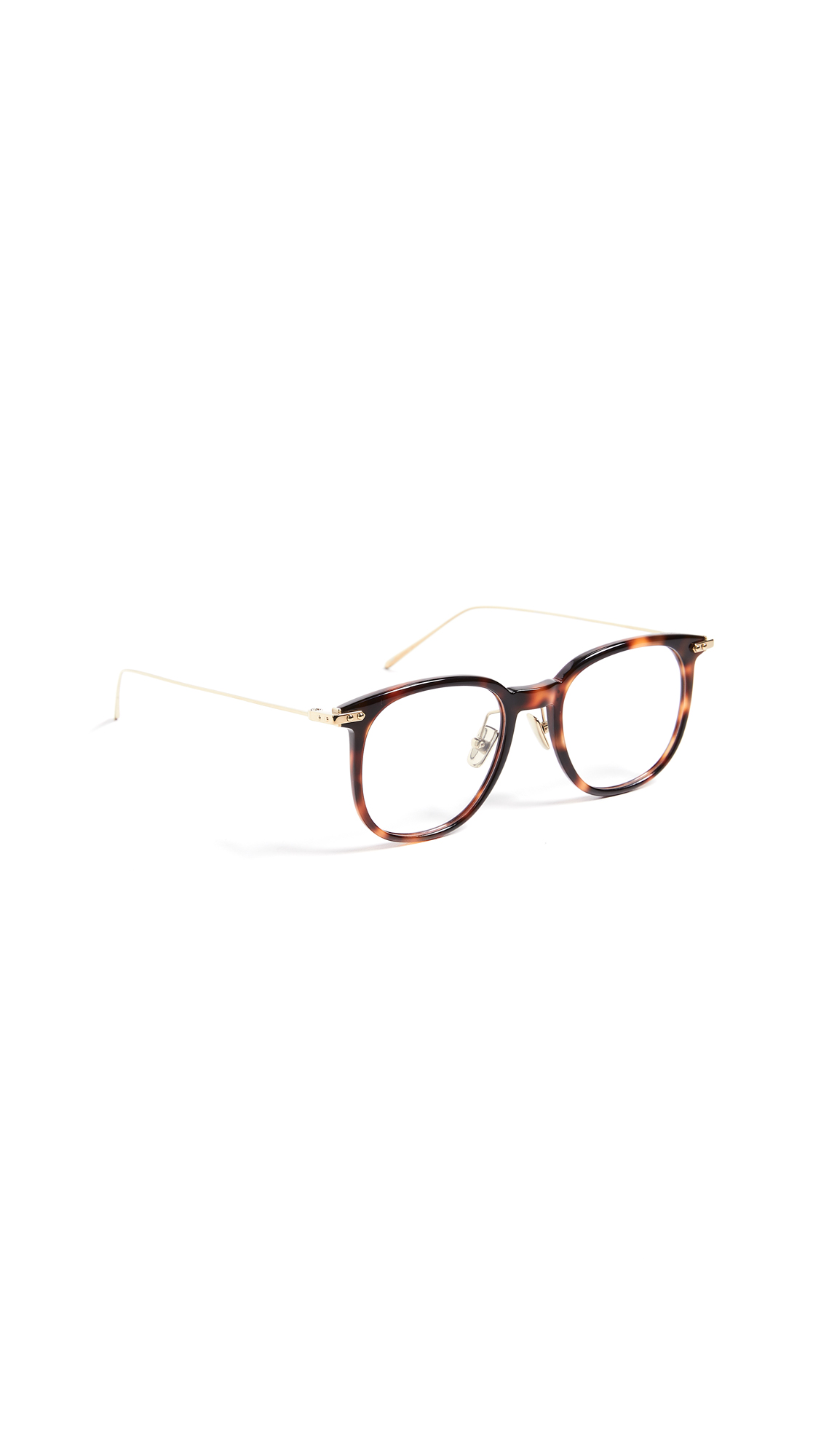 LINDA FARROW LUXE Linear Optical Oversized Wayfarer Glasses in Shell/Light Gold/Optical