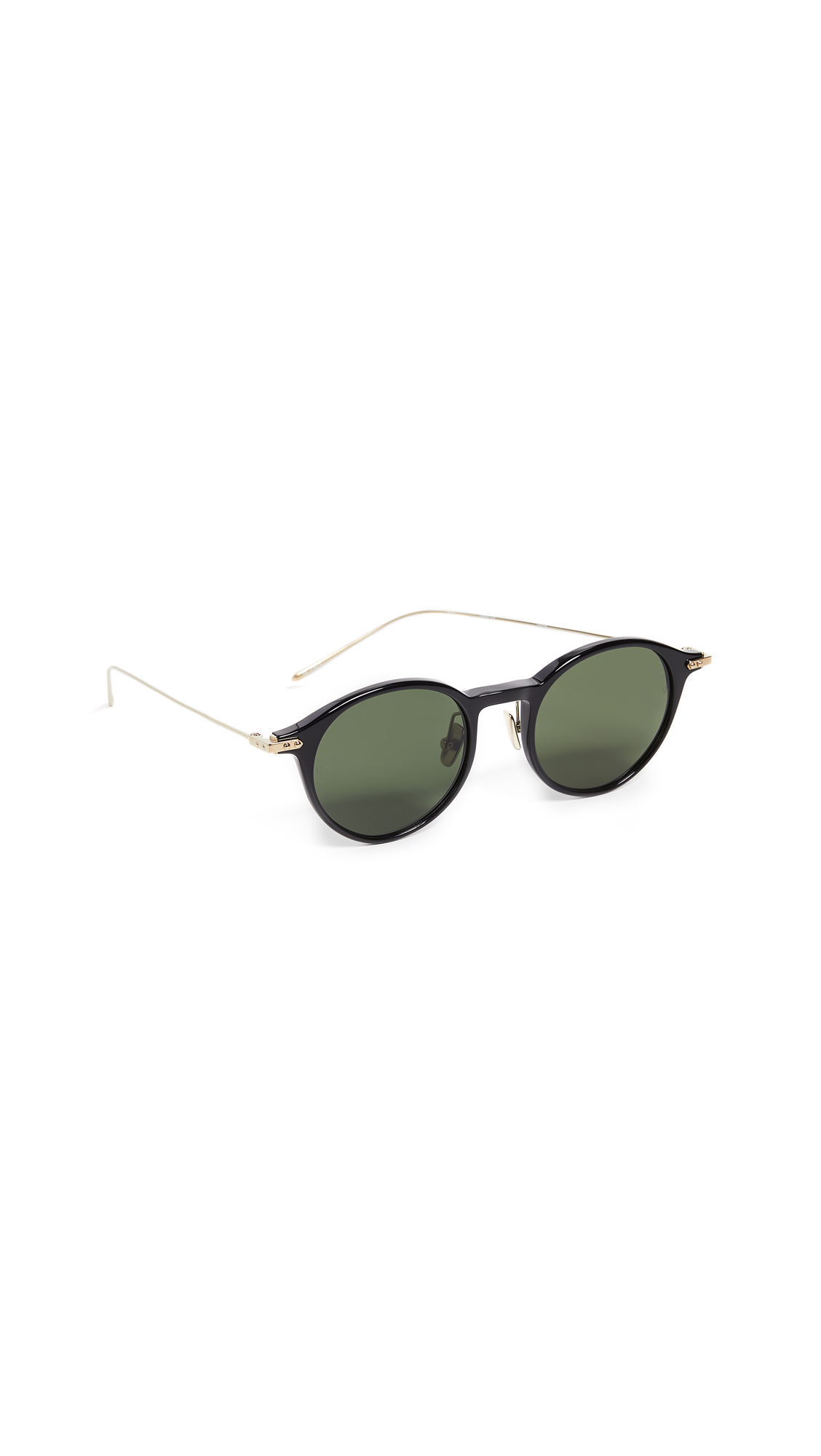 LINDA FARROW LUXE Linear Round Sunglasses in Black/Light Gold/Solid Green