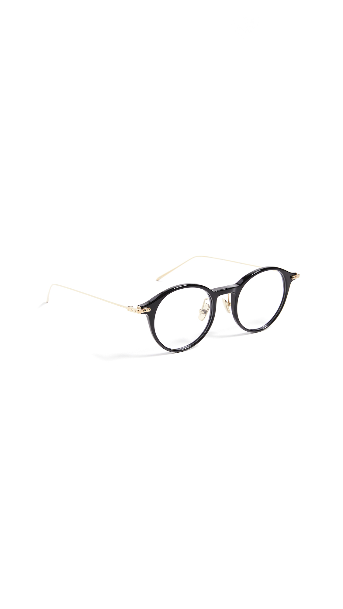 LINDA FARROW LUXE Linear Optical Round Glasses in Black/Light Gold/Optical