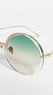 Linda Farrow Luxe Round Oversized Sunglasses