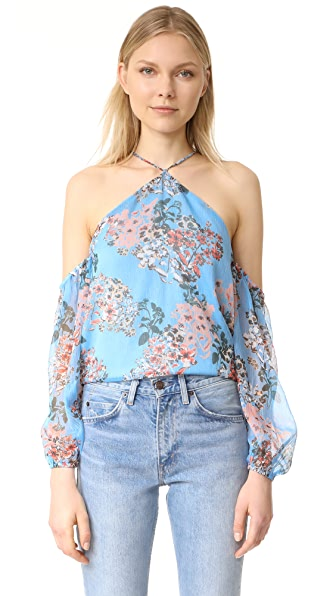 Line & Dot Rudi Cold Shoulder Halter Top In Sky