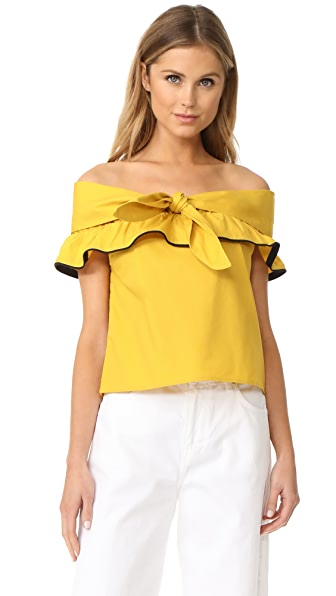Line & Dot Lorena Off the Shoulder Top - Mustard