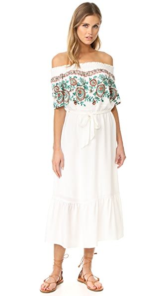 Line & Dot Flor Embroidered Dress - White
