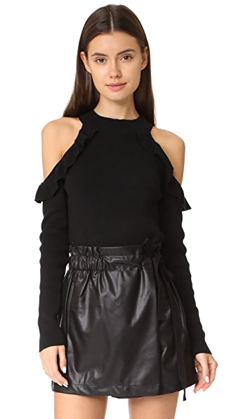 Line & Dot Beau Cold Shoulder Sweater - Black