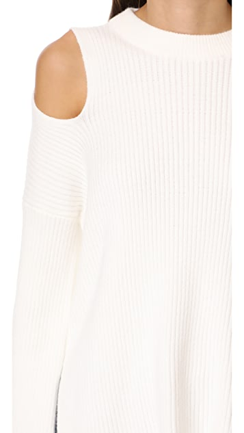 Line & Dot Trou Cold Shoulder Sweater