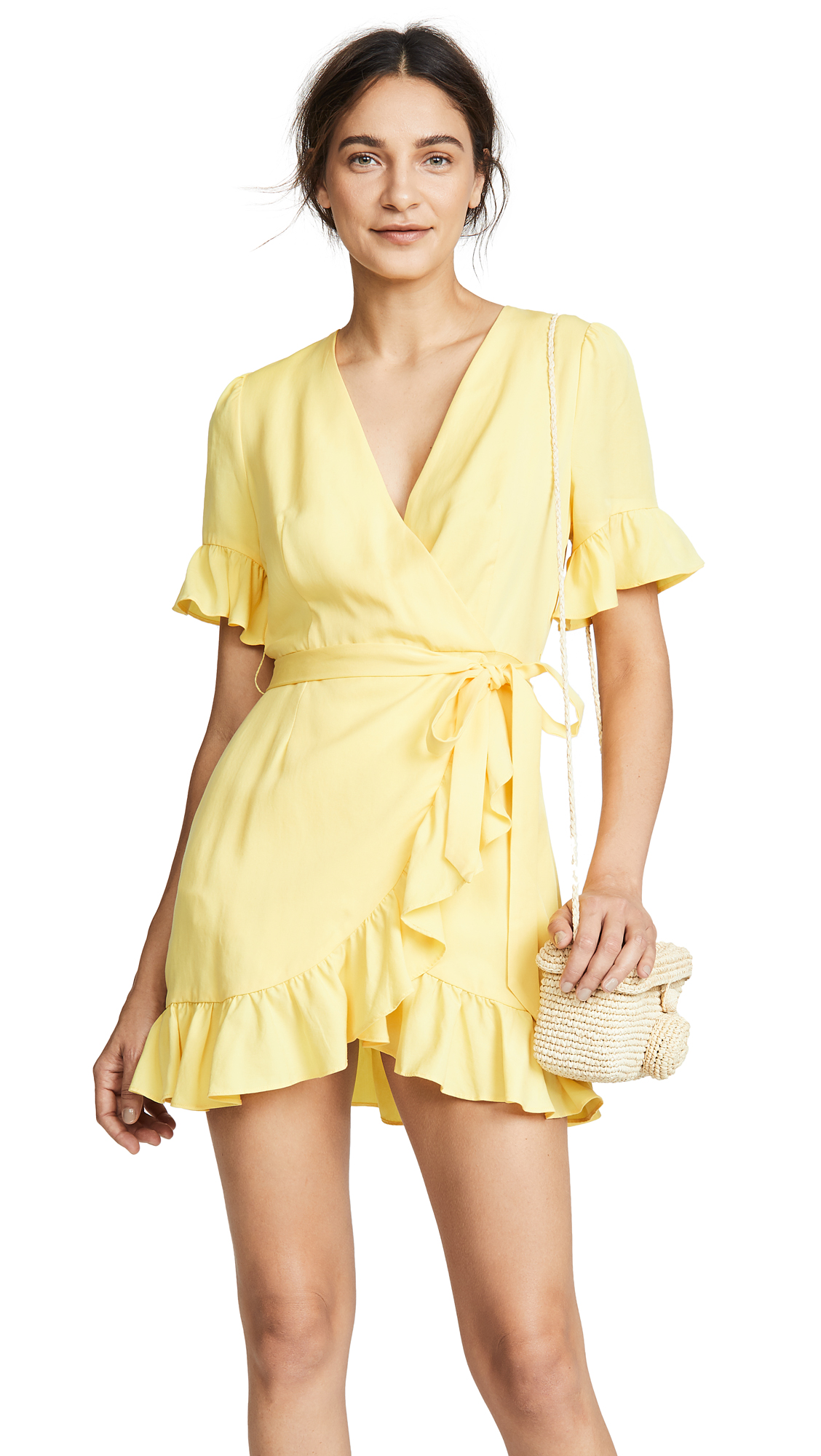 Line & Dot Cherie Wrap Dress In Yellow