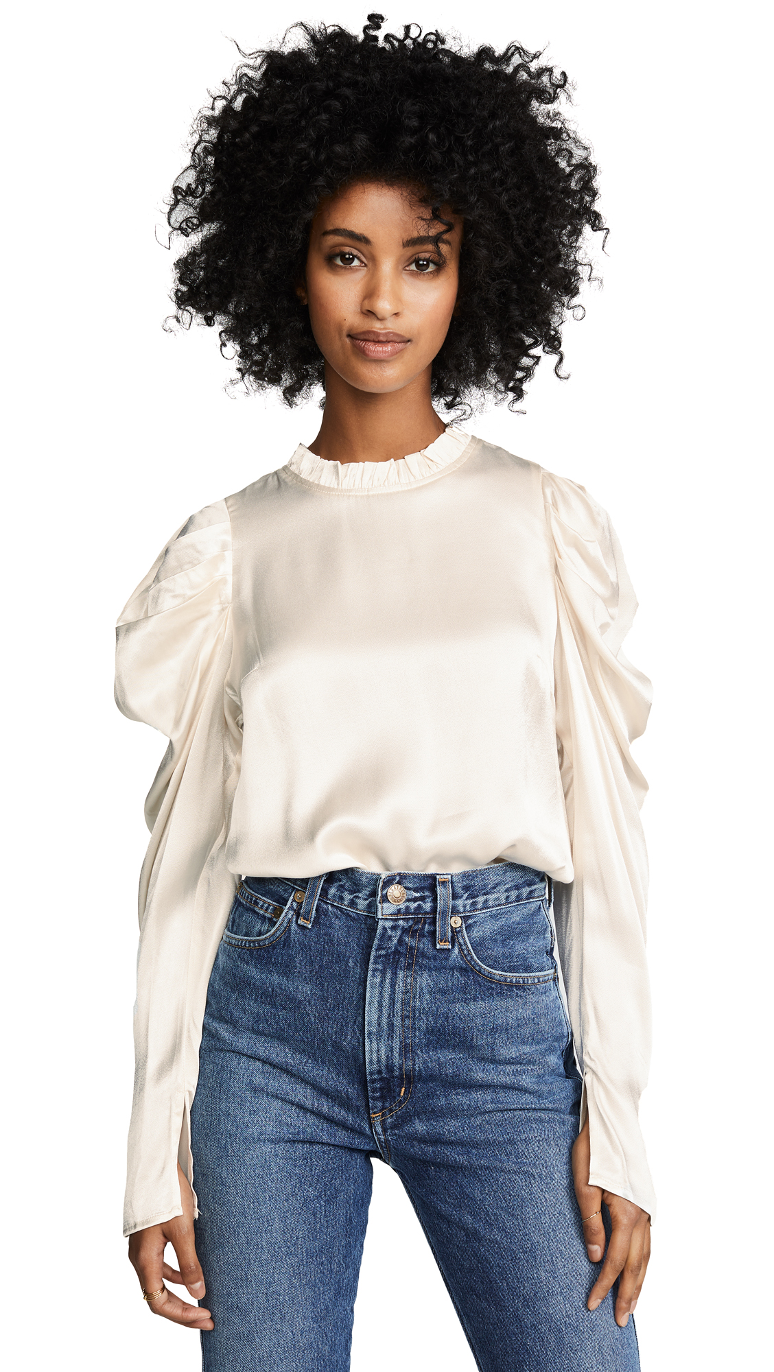 Line & Dot Kilia Puff Sleeve Top In Cream