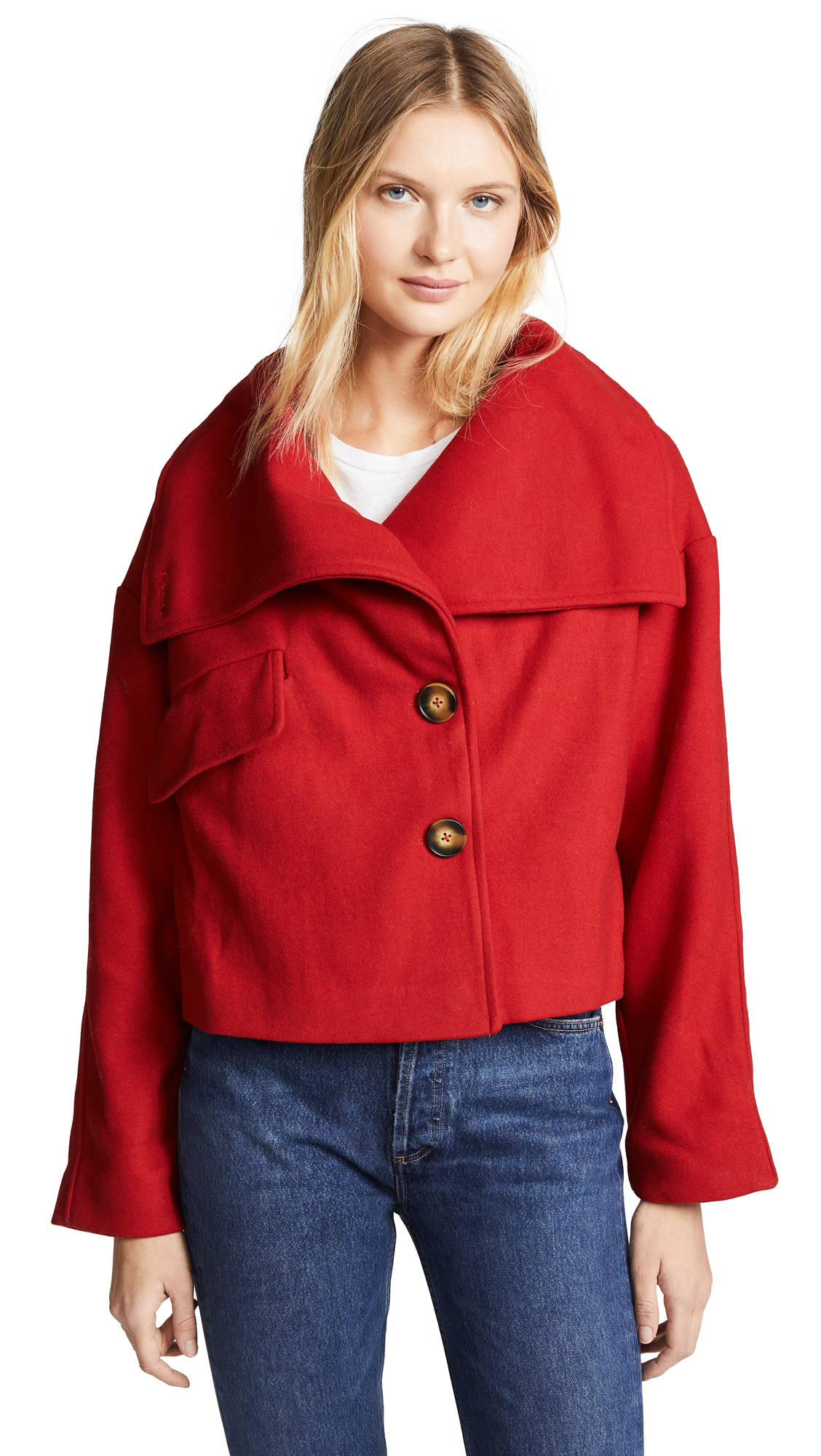 LINE & DOT Belle High Collar Jacket in Deep Red