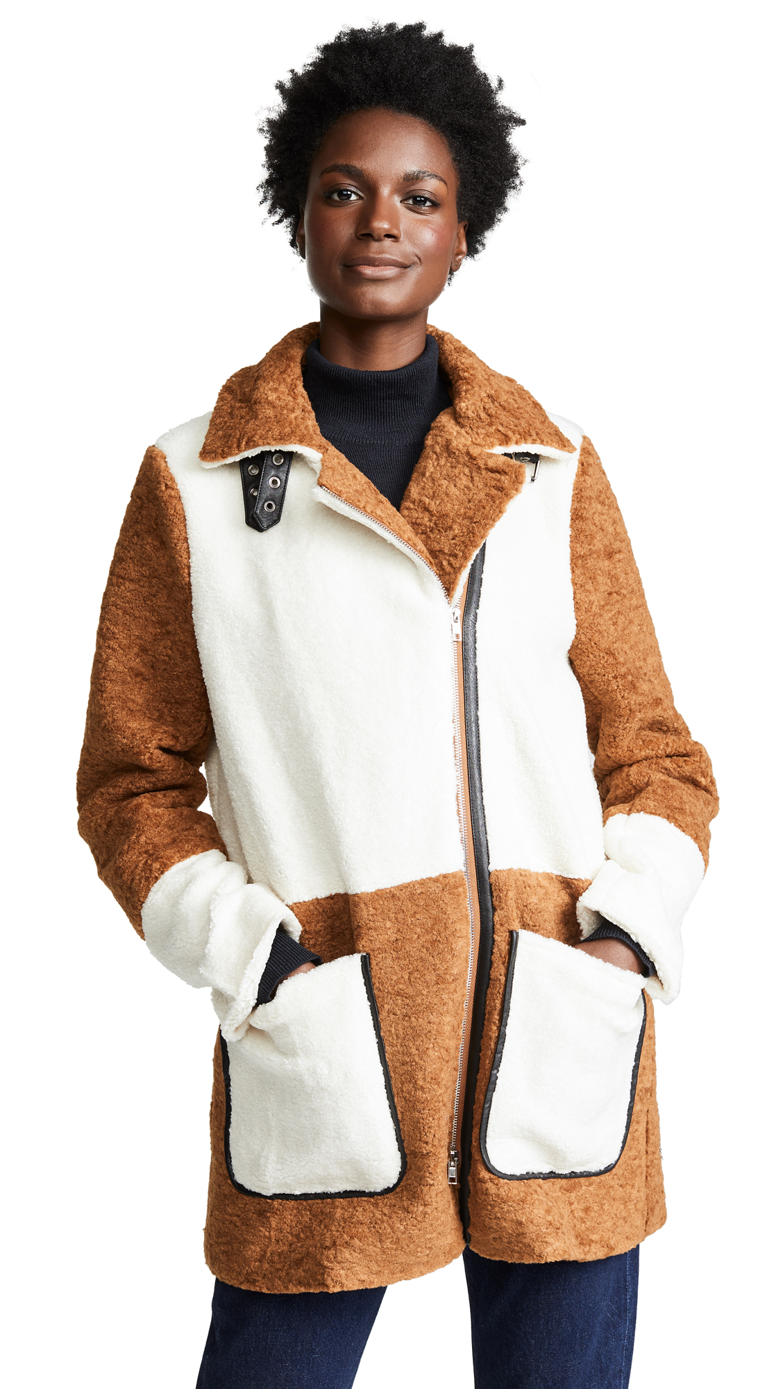LINE & DOT Faux Shearling Coat in Brown/Ivory