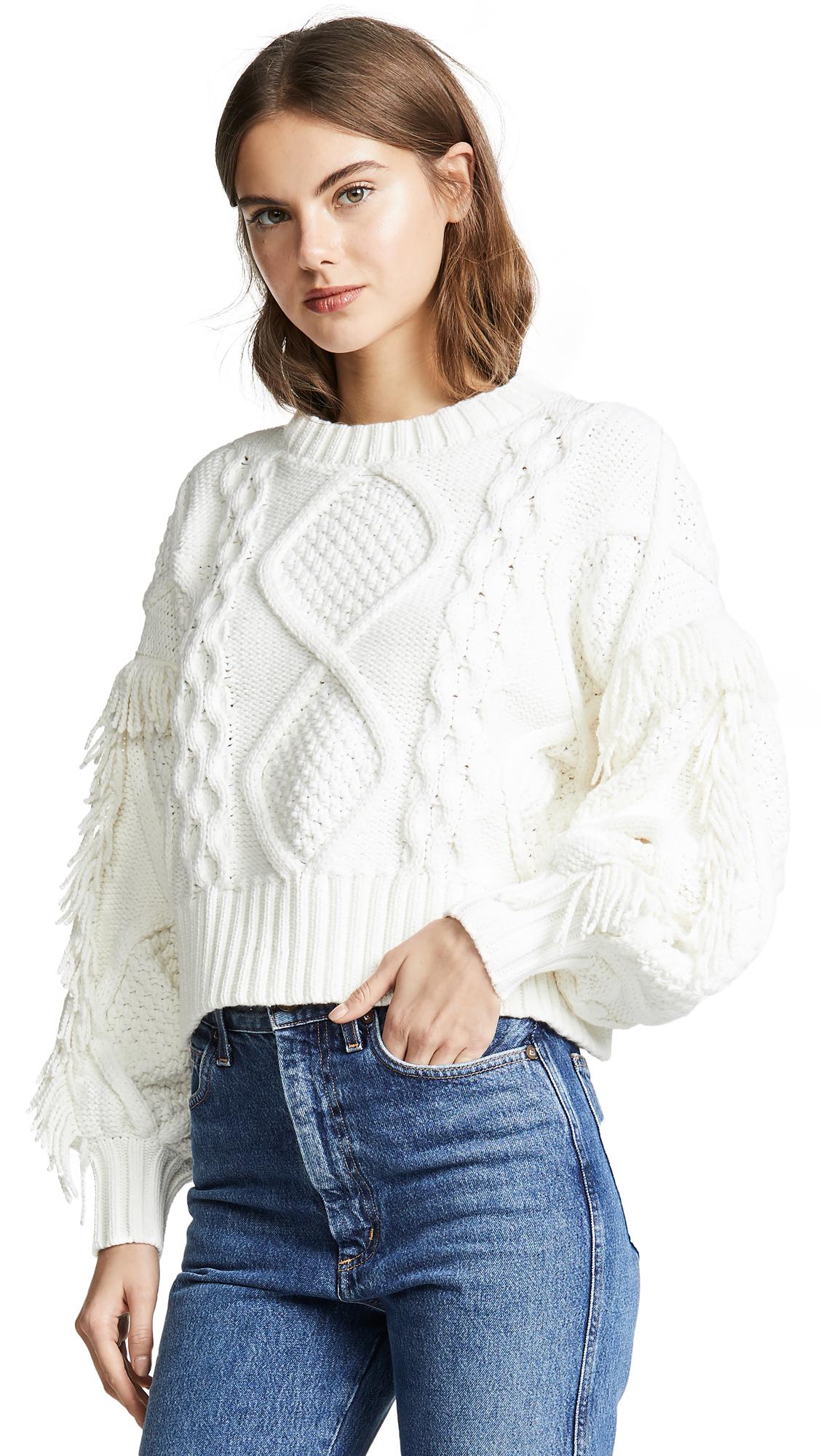 Buy Line & Dot online - photo of Line & Dot Jasper Fringe Cable Knit Sweater