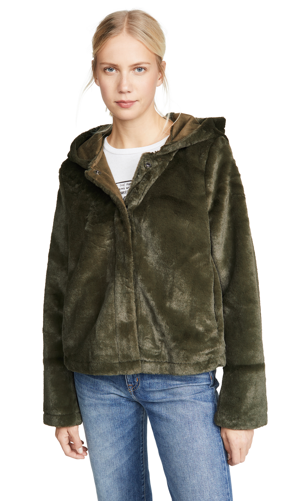 Buy Line & Dot online - photo of Line & Dot Andi Reversible Faux Fur Jacket