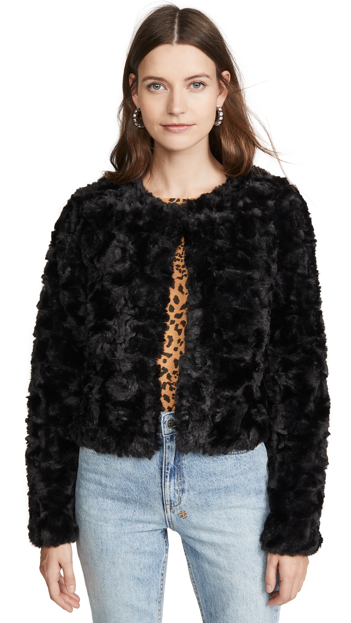 Buy Line & Dot online - photo of Line & Dot Faux Fur Jacket