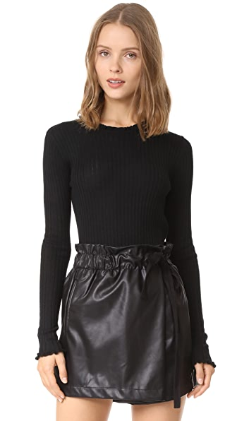 LINE Chelsea Ribbed Ruffle Pullover In Caviar