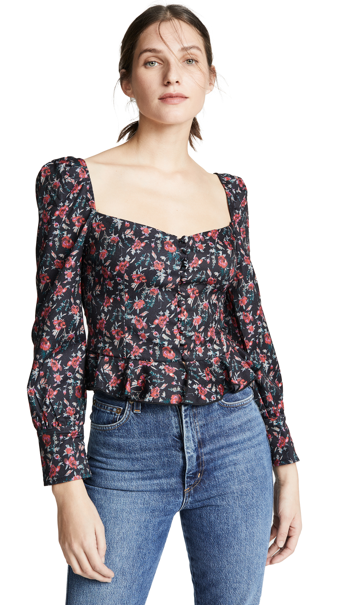 LIONESS Sweethearts Top in Black Based Red Floral