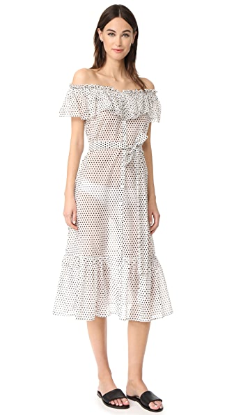Lisa Marie Fernandez Mira Button Down Sheer Dress - White/Black Polka Dot