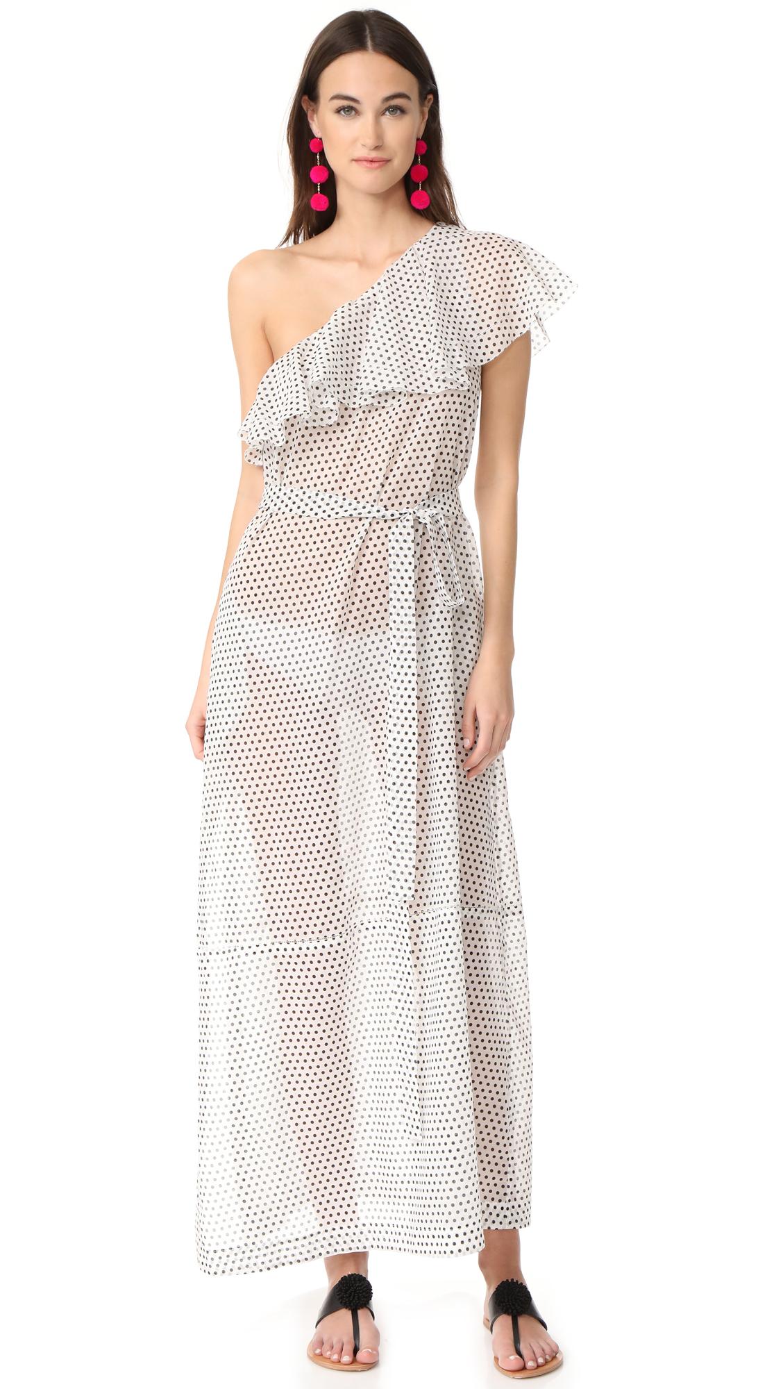 Lisa Marie Fernandez Arden Flounce Dress - Black/White Polka Dots