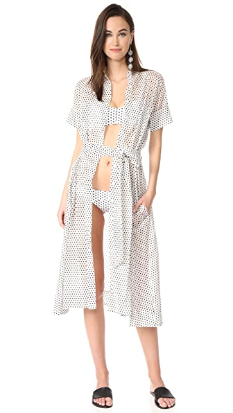 Lisa Marie Fernandez Shirtdress - White/Black Polka Dot