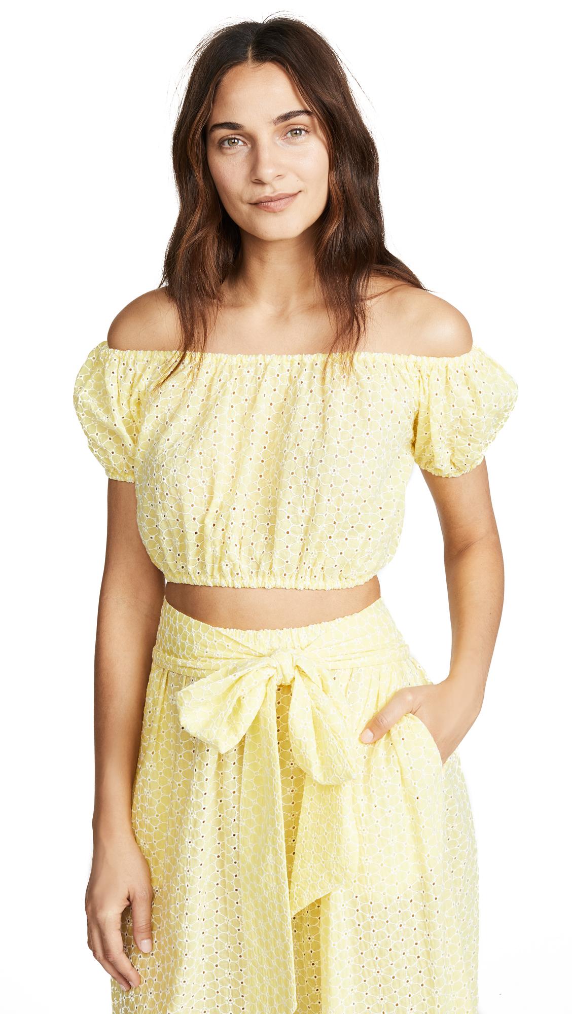 Lisa Marie Fernandez Leandra Top - Lemon Daisy Eyelet
