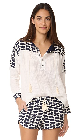 LIV Cook Island Peasant Blouse - White/Navy