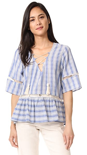 LIV Mode Lace Up Stripe Top In Blue