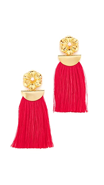 Lizzie Fortunato Poppy Fringe Earrings - Gold/Red