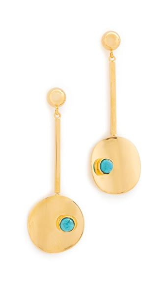 Lizzie Fortunato Sundial Earrings In Gold/Turquoise