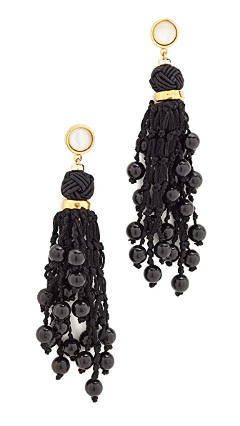 Lizzie Fortunato Dance Hall Earrings - Black/Mother of Pearl