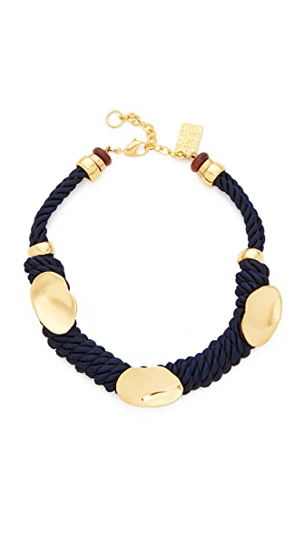 Lizzie Fortunato Zanzibar Necklace In Gold/Navy