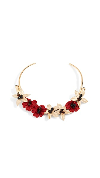 Lizzie Fortunato Poinsettia Collar Necklace In Gold/Red