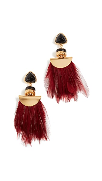 Lizzie Fortunato Parrot Earrings In Burgundy