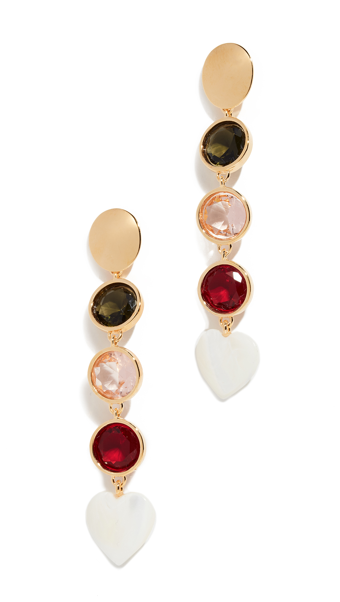 LIZZIE FORTUNATO Nonna Gold-Plated Crystal Earrings in Yellow Gold/Multi