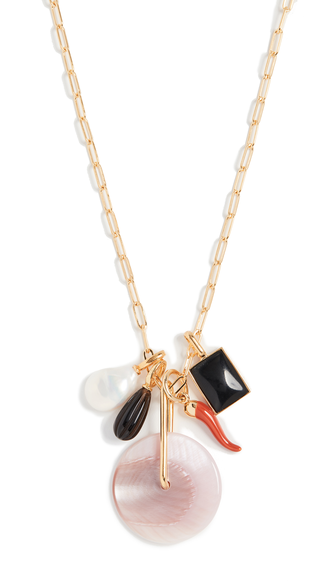 Lizzie Fortunato Pink City Charm Necklace In Gold/Multi